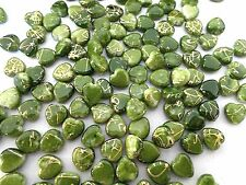 180pcs 10mm Acrylic Gold Striped HEART Water Color Spacer Beads PERIDOT GREEN