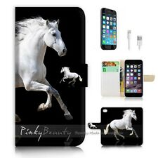 iPhone 7 (4.7') Flip Wallet Case Cover P0944 White Horse