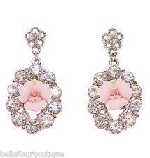 1928 Jewelry Porcelain Pink Rose & Clear Crystals Oval Drop Earrings Made in USA