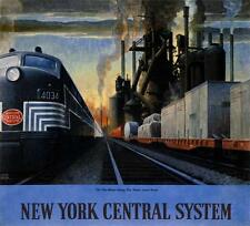 "NEW YORK CENTRAL SYSTEM  ALONG THE WATER LEVEL, 22""h x 19""w image, digital print"
