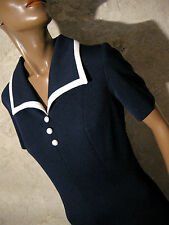 CHIC VINTAGE ROBE 1970 VTG DRESS 70s MOD NAVY KLEID 70er ABITO RETRO (40)