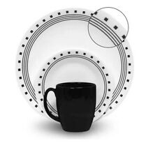 Black & White Corelle Dinnerware SetKitchen Home Dining Dishes Plates Bowls Cups