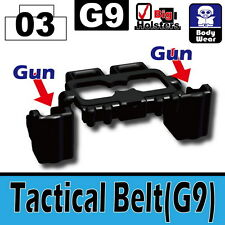 Black Tactical Belt G9 (W38) belt dual holster compatible with toy brick minifig
