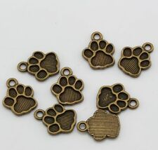 15pcs Antique bronze Alloy Paw Print Charms Pendant 12*15mm DIY Jewelry