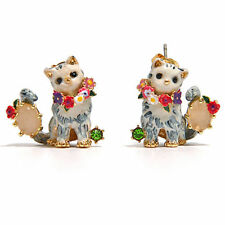 LES NEREIDES DAPPER CAT AND PINK STONE LEVER BACK EARRINGS