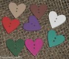 10/25/50 ASSORTED COLOUR WOODEN HEART BUTTONS - 23MM (851) #CRAFTS/SCRAPBOOKING