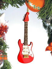 "FENDER ELECTRIC GUITAR RED 5"" MUSICAL INSTRUMENT CHRISTMAS ORNAMENT GIFT BOXED"