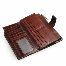 Genuine Leather Mens Long Wallet Credit Card Holders Zippered Coin Phone Pocket