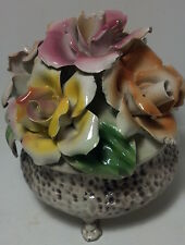 Vintage Capodimonte flower bouquet in footed pot Italy