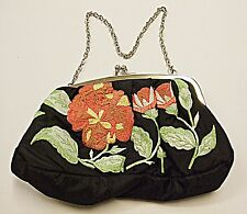 NEXT VINTAGE RETRO BLACK EMBROIDERED EVENING OR DAY WEAR BAG FRONT & BACK LOVELY