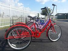 """Red Shimano 6 Speed Adult Tricycle New 24"""" 3 Wheel Bike Big Seat High Quality"""