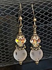Sterling Silver Dangling Clear Iridescent Swarovski Crystal Bead Hook Earrings