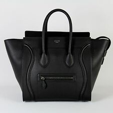$3600 NEW authentic CELINE Mini Luggage Black Drummed Leather Tote Bag Handbag