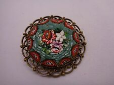 VINTAGE ITALIAN MICRO MOSAIC BROOCH FLORAL DESIGN OPEN FRET WORK STAMPED ITALY