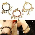 Chic Eiffel Tower Multi-element Leather Rope Crystal Bracelet Gold Chain Charms