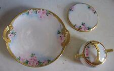 Vtg hand painted JAPAN Porcelain set 4 pcs cake plate sugar bowl & tea tile ROSE