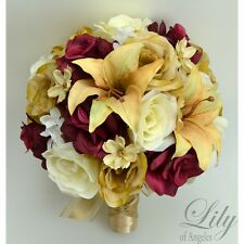 17 Piece Wedding Bridal Set Bouquet Boutonniere Silk Flowers CHAMPAGNE BURGUNDY