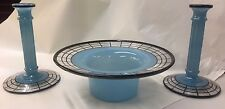 ART DECO BLUE GLASS CONSOLE 3 PC SET CANDLESTICKS AND BOWL BLACK TRIM