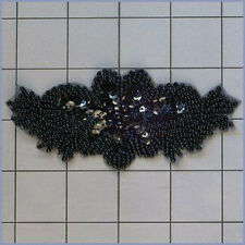 BLACK DESIGNER MOTIF SEQUIN BEADED APPLIQUE 2521-N