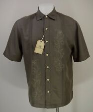 Caribbean Mens Medium M Brown Embroidered Short Sleeve Button Hawaiin Shirt New