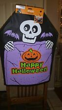 "Halloween (2) Black Chair back covers w/Pumpkin Ghost Print . Size 19 X 26""."