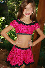 Hot pink and black custom jazz competition dance costume CS/M, CM, CML, CL