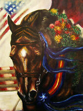"VICTORY LAP 18"" X 24"" Acrylic on Canvas by artist BETS Jumpers Great HORSE GIFT"