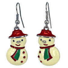 RUCINNI RoRo Snowman Earrings, 20K Gold Plated and Crystals
