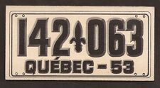 1953 TOPPS LICENSE PLATES SET BREAK #75 CANADA - PROVINCE OF QUEBEC