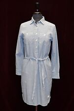 B0 NEW LAUREN RALPH LAUREN Blue Striped 100% Cotton Belted Shirt Dress Size XS
