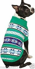 New Nordic Design Dog Sweater Chalet Green White Snowflake Zack & Zoey Large L