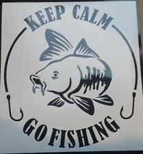 Keep calm go fishing -Black Custom vinyl car sticker, decals, graphics sml