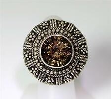 Beautiful Sterling Silver Smoky Quartz Large Disc Ring Size 6 – 8022