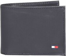 NEW TOMMY HILFIGER MEN'S LEATHER CREDIT CARD WALLET ID BILLFOLD BLACK 31TL22X046