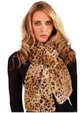 Ladies Faux Fur Leopard Scarf Cowl Shawl Stole Black Brown Silk feel lining .