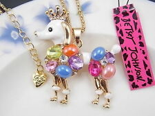 Poodle Dog Wearing a Crown Pendant Necklace by Betsey Johnson  Ships from USA