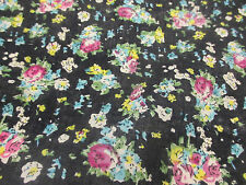 "Navy ""Tea Party"" Summer Floral Printed 100% Cotton LAWN/VOILE Fabric"
