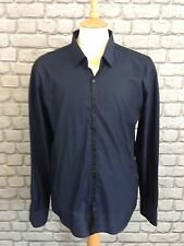 LAGERFELD MENS 44 106 NAVY TAPED DETAIL SHIRT RRP £99