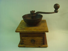 Antique Vintage Old Coffee Beans Grinder Working Wood /  Metal Rare Nr 1481