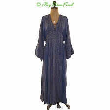 $168 FREE PEOPLE 'MODERN KIMONO' PRINTED LACE UP MAXI DRESS BLUE SIZE 2 B35