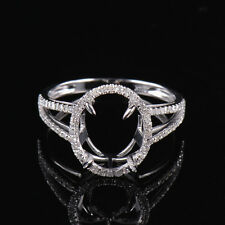 Natural Diamond Split Shank Semi Mount Ring Settings Oval 9x11mm in 14KW Gold