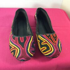 Women's Flat Mola Shoes Size 7.5M Colorful Handmade San Blas Kuna Indians