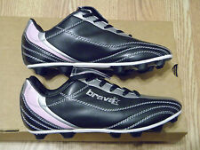 BRAVA PLW3003 GIRLS BLACK/SILVER/PINK SOCCER CLEATS SIZES 1  &  5.5