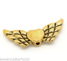 50 Antikgold Engelsflügel Herz Charm Perlen Beads zum Basteln 22x9mm