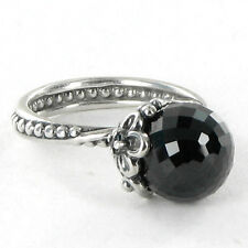 Size 6 925 Solid Sterling Silver Stacking Ring Odyssey Flower Black Round Stone
