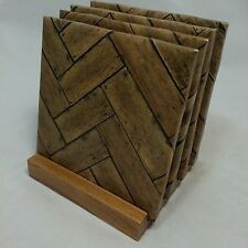 "HANDMADE ""Chevron Wood"" Drink Coasters 