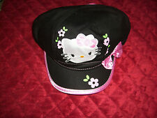 HELLO KITTY  BLACK HAT CAP WITH PINK BOW AND TRIM  NEW WITH TAGS