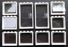 LEGO OFFICE windows + doors (pack of 10) 1x4x3 WHITE GLASS CLEAR police hospital