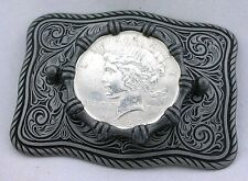 Silver Color Southwest Western REAL 1922 Peace Silver Dollar Belt Buckle EPBB87