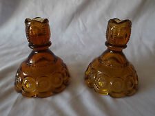 Vintage Depression Era Set 2 Amber Glass Elegant Patterned Candlestick Holders